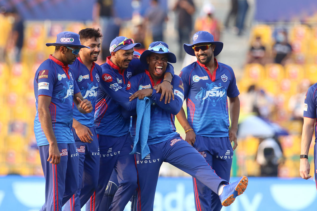 """<div class=""""paragraphs""""><p>Delhi Capitals players celebrate after their win over Rajasthan Royals.</p></div>"""