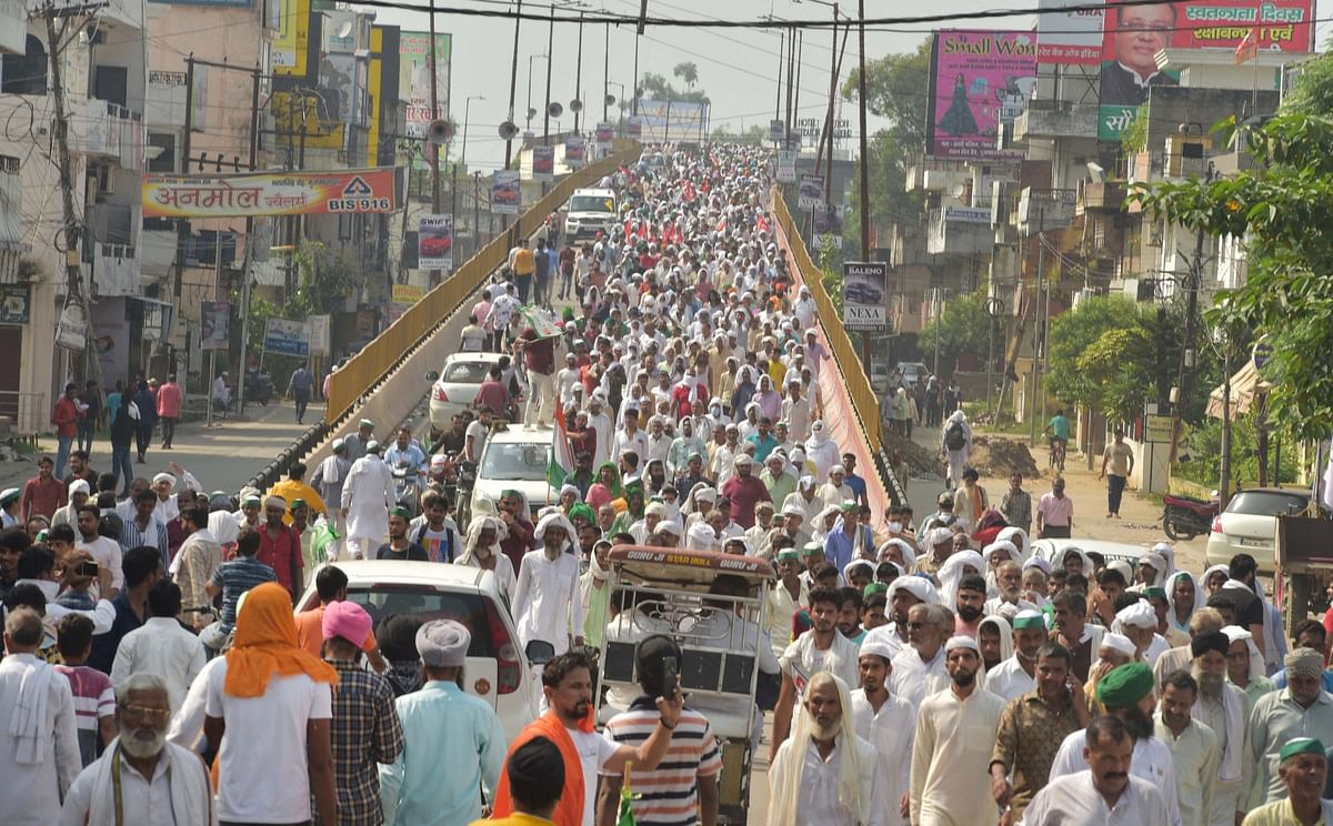 """<div class=""""paragraphs""""><p>Farmers leave after attending a 'Kisan Mahapanchayat' as part of their ongoing agitation against Centre's farm reform laws, in Muzaffarnagar,Sunday, 5 September 2021.</p></div>"""