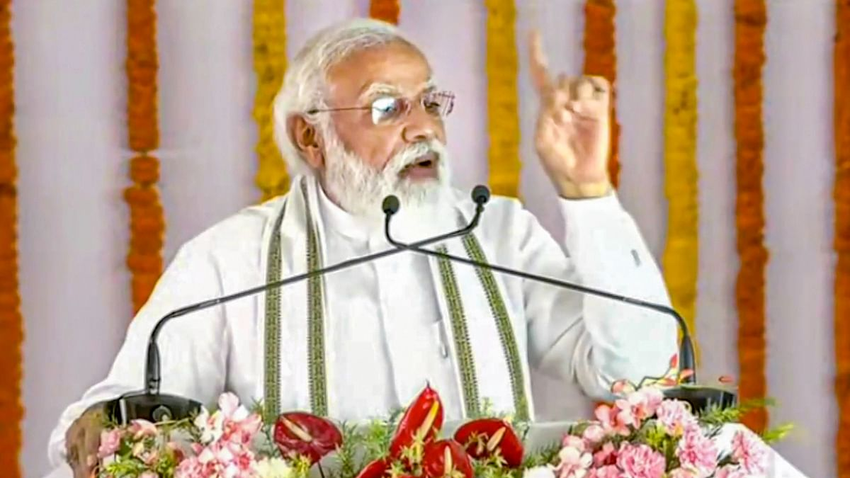 """<div class=""""paragraphs""""><p>Prime Minister Narendra Modi addresses the crowd during the foundation stone laying ceremony of Raja Mahendra Pratap Singh State University in Aligarh.</p></div>"""