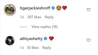 """<div class=""""paragraphs""""><p>Tiger Shroff and Athiya Shetty commented on the post.</p></div>"""