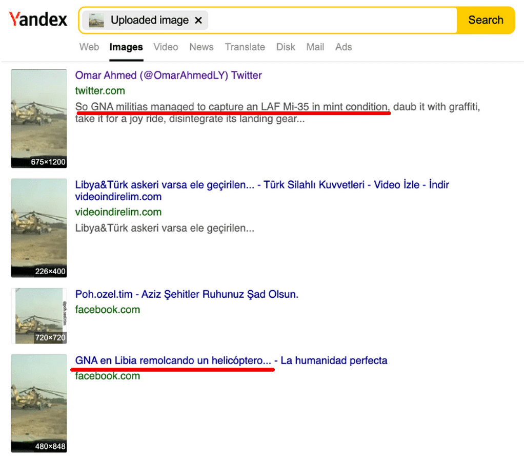"""<div class=""""paragraphs""""><p>The Yandex reverse image search showed results that suggested that the video could be from Libya.</p></div>"""