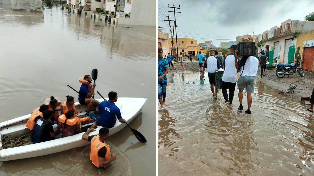 """<div class=""""paragraphs""""><p>Gujarat Floods: At least 7,000 people have been evacuated from flood-prone areas of Gujarat's Rajkot and Jamnagar.&nbsp;</p></div>"""