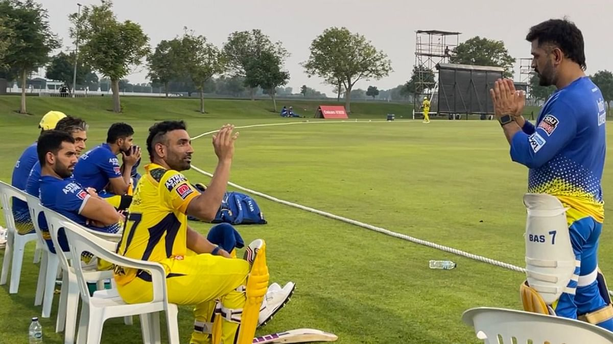 """<div class=""""paragraphs""""><p>MS Dhoni with his CSK team-mates at the pre-season camp.</p></div>"""