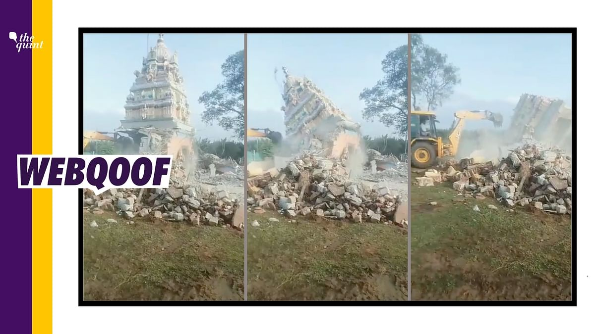"""<div class=""""paragraphs""""><p>The video claims that it shows a temple being demolished in Tamil Nadu.&nbsp;</p></div>"""