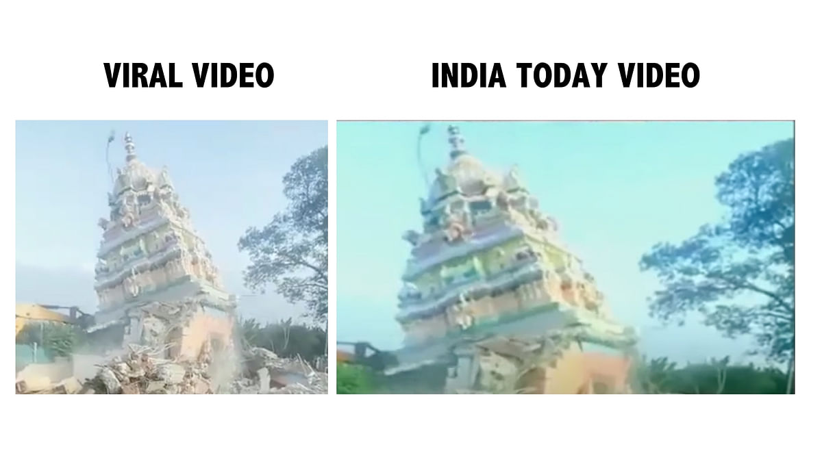 """<div class=""""paragraphs""""><p>Screengrab from viral video (L), Screengrab from India Today video (R).</p></div>"""