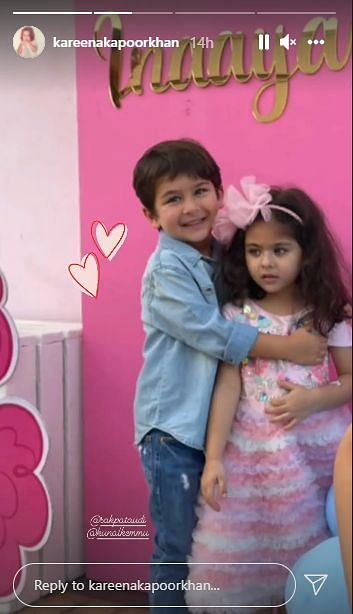"""<div class=""""paragraphs""""><p>Taimur and Inaaya at the birthday party.</p></div>"""