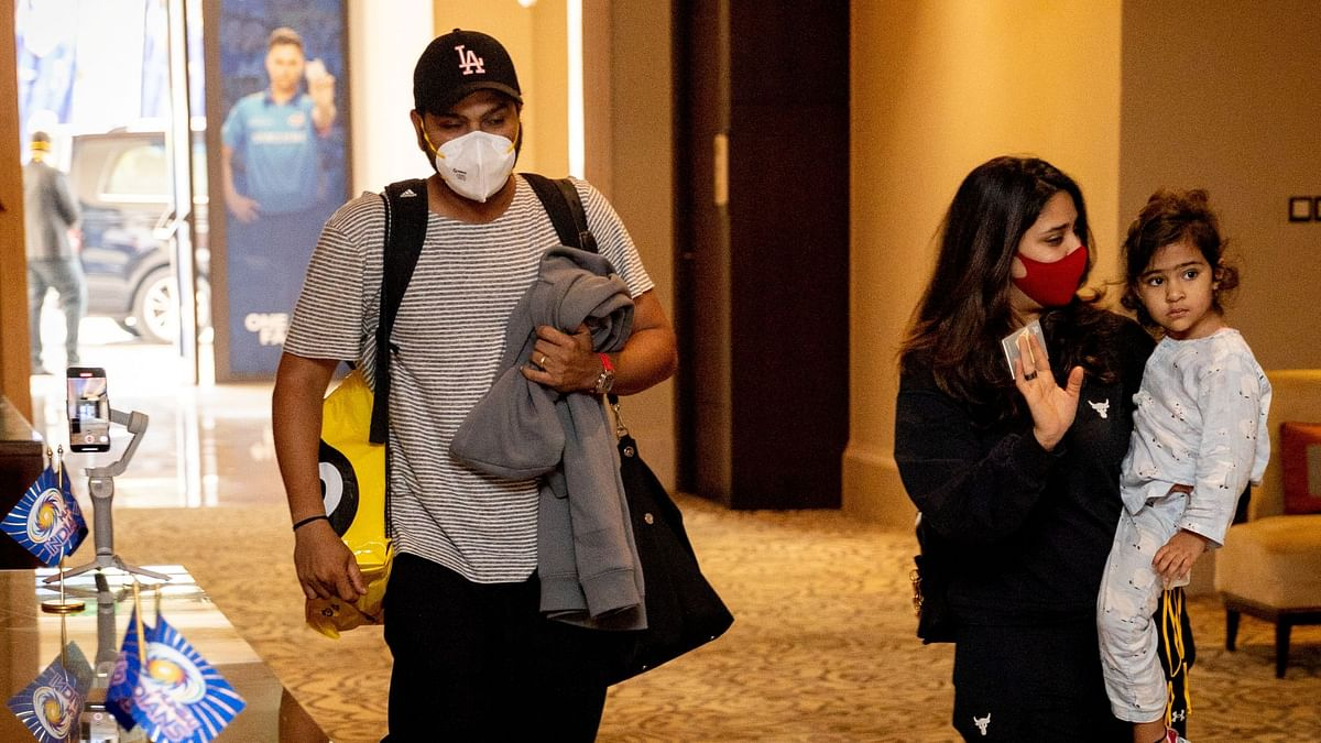 """<div class=""""paragraphs""""><p>Mumbai Indians' skipper Rohit Sharma joined the camp in Abu Dhabi on Saturday.</p></div>"""