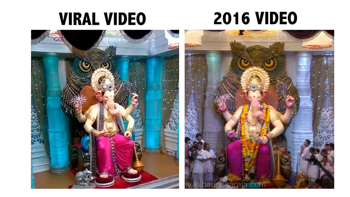 """<div class=""""paragraphs""""><p>Screengrab from viral video (L), Screengrab from official YouTube channel of Lalbaugcha Raja in 2016 (R).</p></div>"""