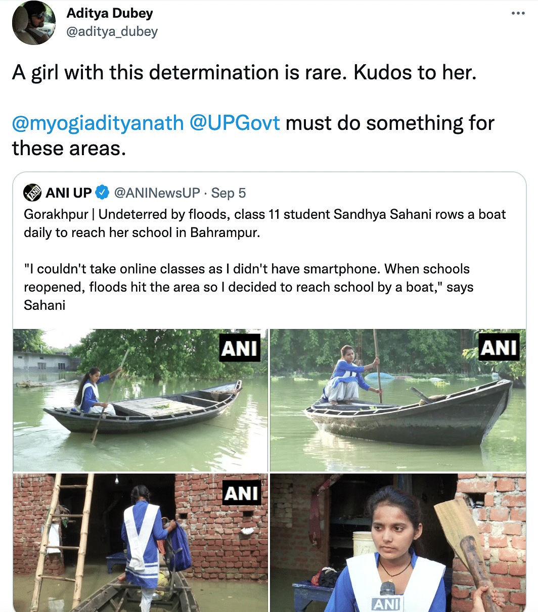 In Flood-Hit Gorakhpur, This Class 11 Student Reaches School by Rowing a Boat