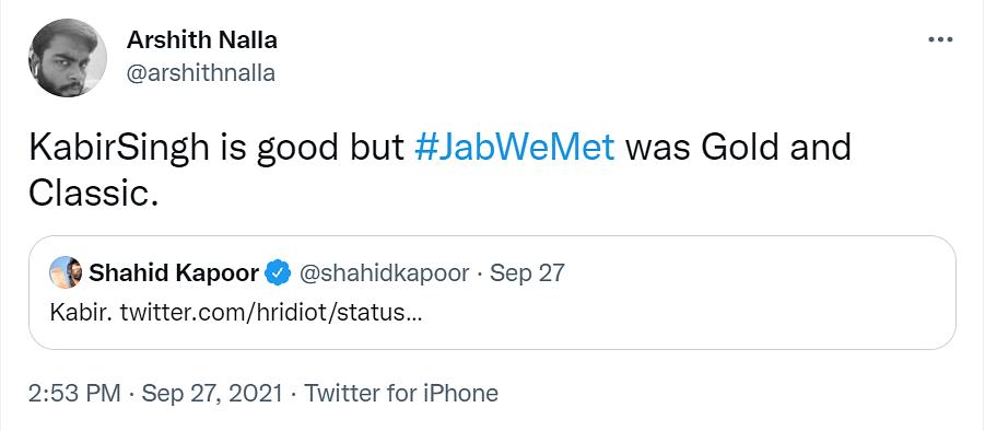 Shahid Kapoor Trolled On Twitter For Picking Kabir Singh Over Jab We Met