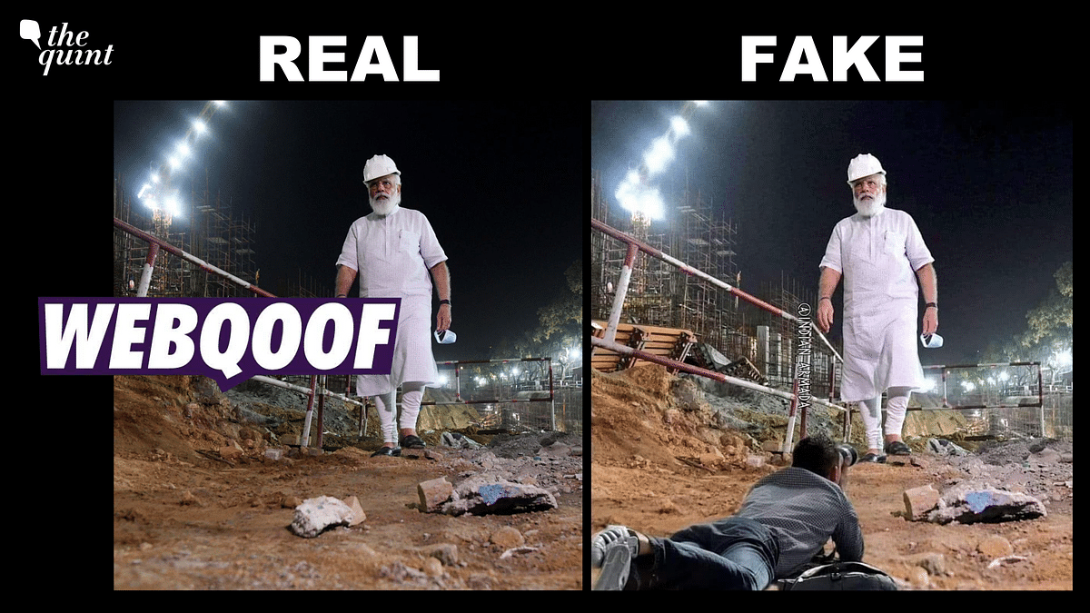 Altered Pic of Narendra Modi at Central Vista Site Viral as Real Photo