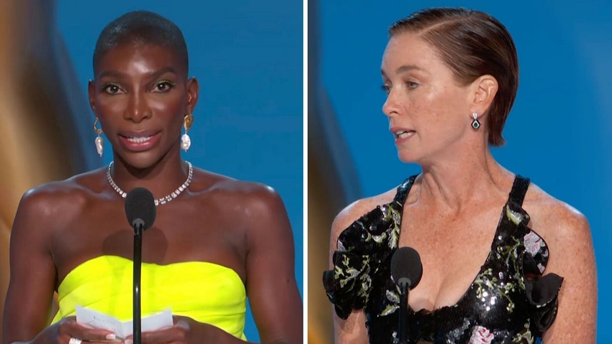 """<div class=""""paragraphs""""><p>Michaela Coel and Nicholson at this year's Emmy Awards.</p></div>"""