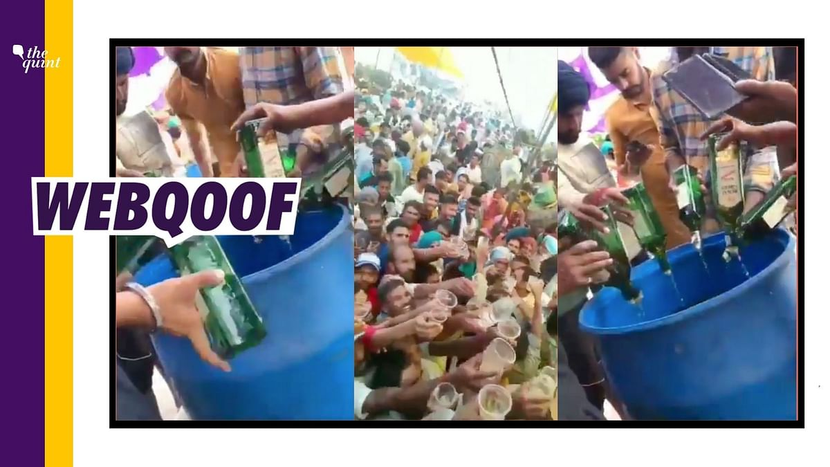 """<div class=""""paragraphs""""><p>A video of alcohol being distributed at a gathering in a village in Ludhiana was falsely linked to farmers' protest.</p></div>"""