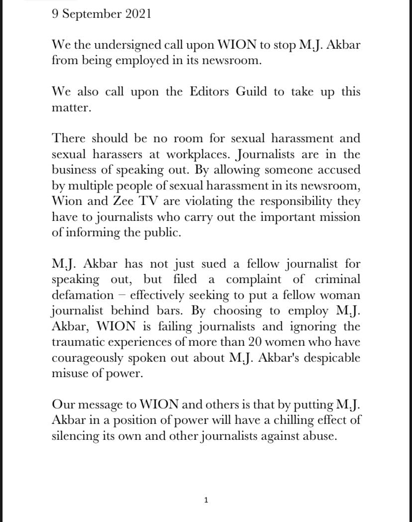 'No Room For Sexual Harassers': Journos Ask WION to End MJ Akbar's Employment