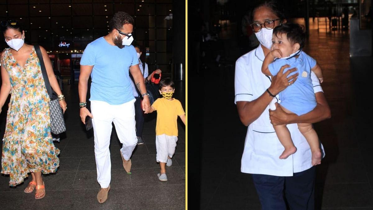 Pics: Kareena Kapoor, Saif Ali Khan & Their Kids Return From Vacation