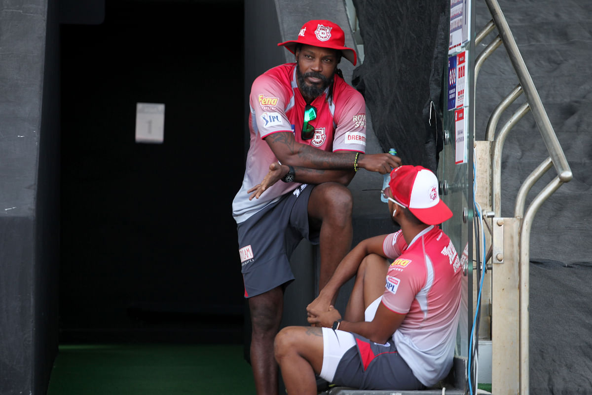 """<div class=""""paragraphs""""><p>File picture of Chris Gayle and Nicolas Puran during IPL 2020.</p></div>"""