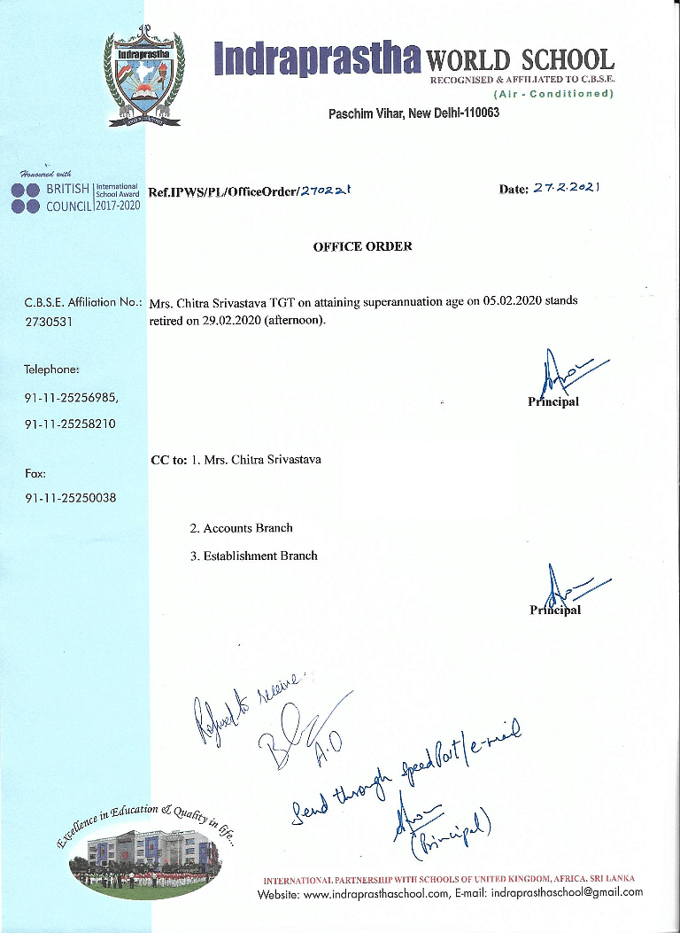 """<div class=""""paragraphs""""><p>Letter issued to Chitra Srivastava by the school.</p></div>"""