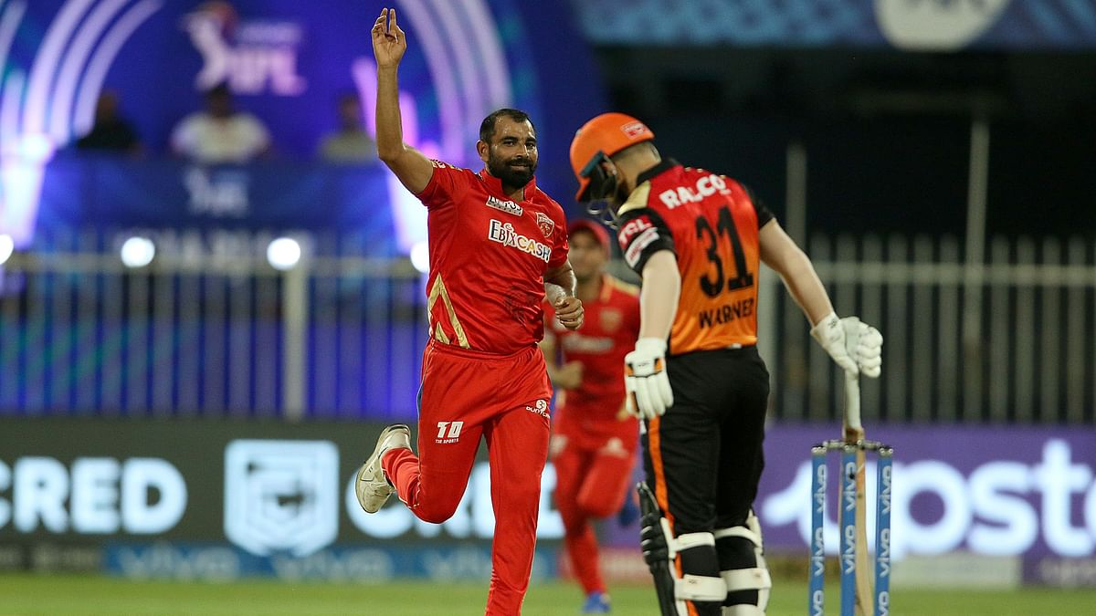 """<div class=""""paragraphs""""><p>Mohammad Shami of Punjab Kings celebrates after takes the wicket of David Warner of Sunrisers Hyderabad.<br></p></div>"""