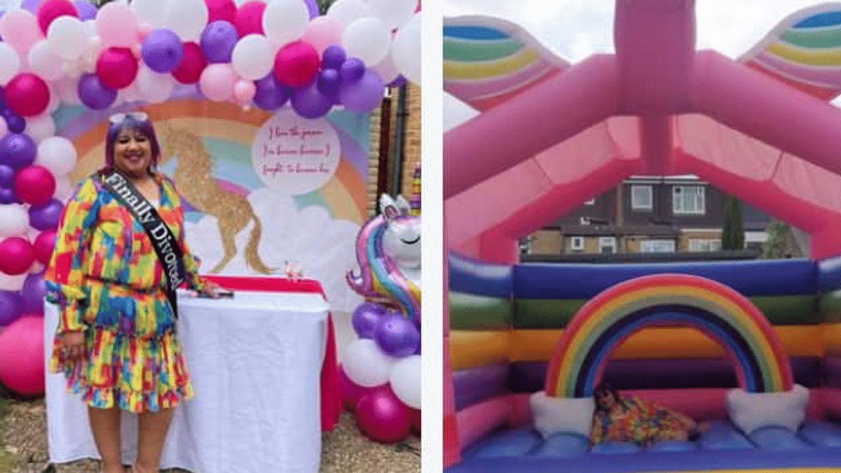 """<div class=""""paragraphs""""><p>45-year-old woman throws herself a divorce party.</p></div>"""