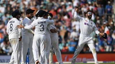 """<div class=""""paragraphs""""><p>Virat Kohli and India celebrate the win at The Oval against England</p></div>"""