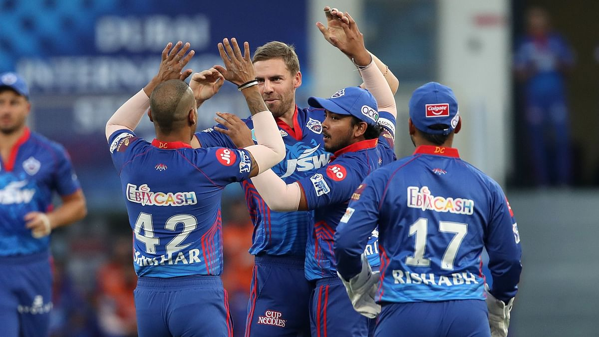 """<div class=""""paragraphs""""><p>IPL 2021: Anrich Nortje picked two wickets for 12 runs against SRH</p></div>"""