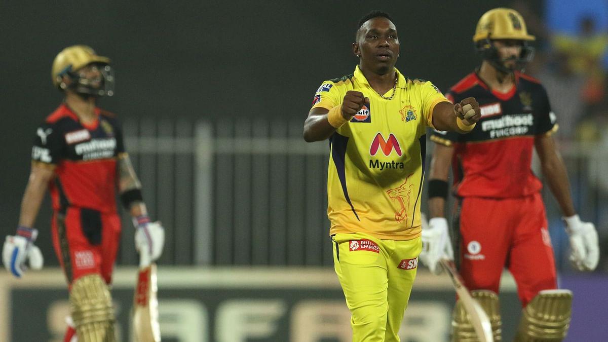 "<div class=""paragraphs""><p>Dwayne Bravo celebrating Virat Kohli's wicket.&nbsp;</p></div>"