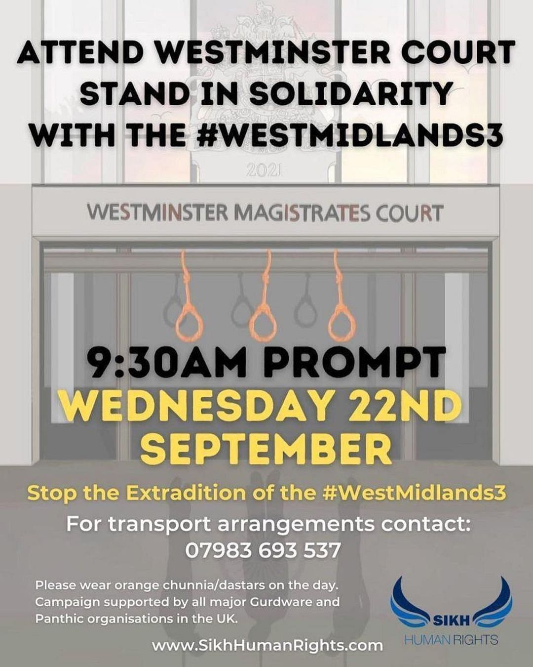 """<div class=""""paragraphs""""><p>A poster on Twitter to promote the demonstration today morning outside the Westminster Magistrate's Court.&nbsp;</p></div>"""
