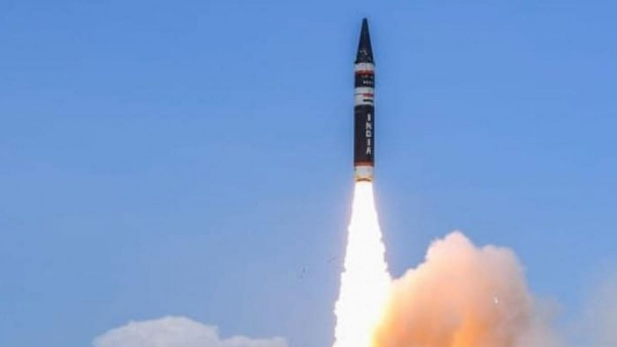 """<div class=""""paragraphs""""><p>The Agni-5 has been developed by the DRDO and Bharat Dynamics Ltd and weighs close to 50,000 kg.</p></div>"""