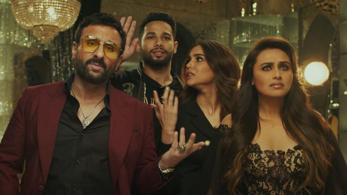 """<div class=""""paragraphs""""><p>Saif Ali Khan, Siddhant Chaturvedi, Sharvari Wagh, and Rani Mukerji in the teaser for&nbsp;<em>Bunty Aur Babli 2.</em></p></div>"""