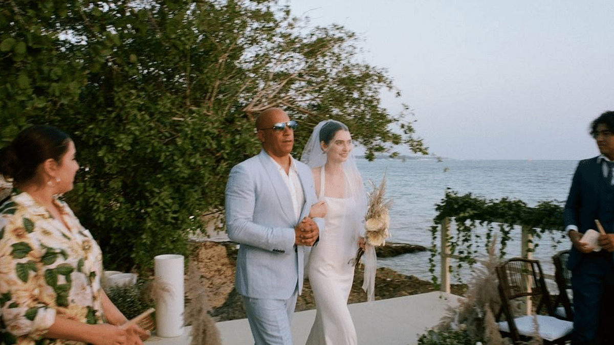 """<div class=""""paragraphs""""><p>Vin Diesel walking Paul Waker's daughter, Meadow, down the aisle at her wedding.</p></div>"""