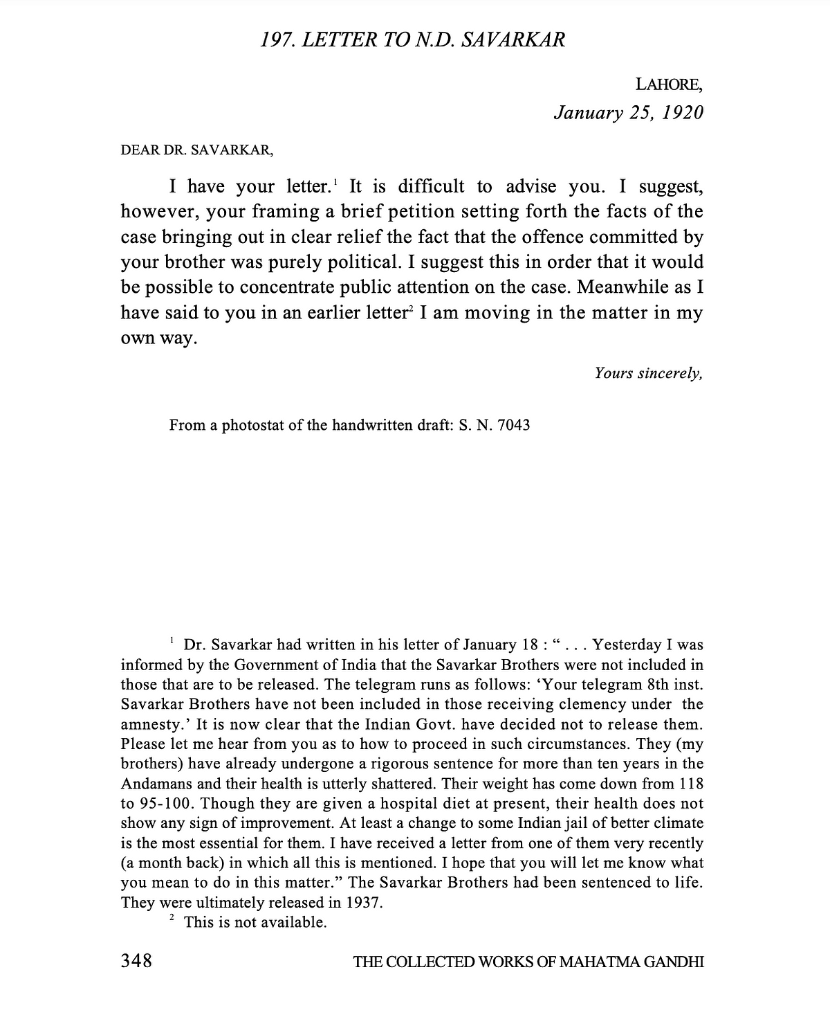 "<div class=""paragraphs""><p>Mahatma Gandhi had written to Dr ND Savarkar in 1920.</p></div>"