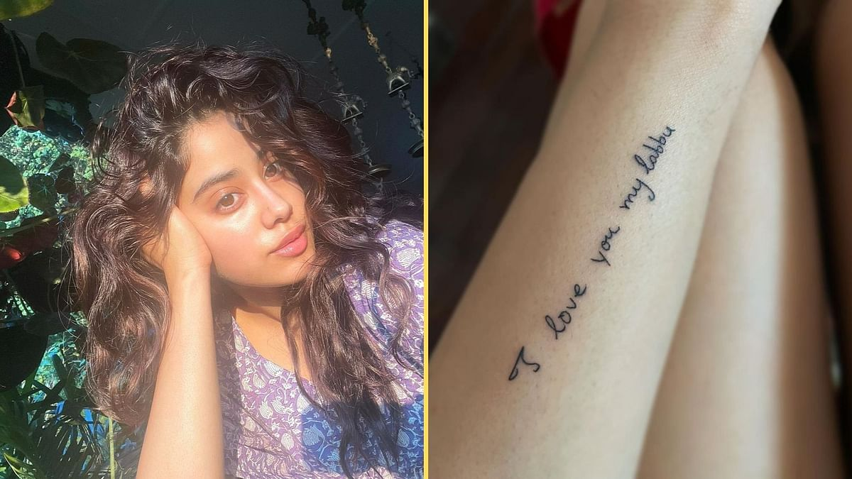 """<div class=""""paragraphs""""><p>Janhvi gets a tattoo of a note written by Sridevi for her.</p></div>"""