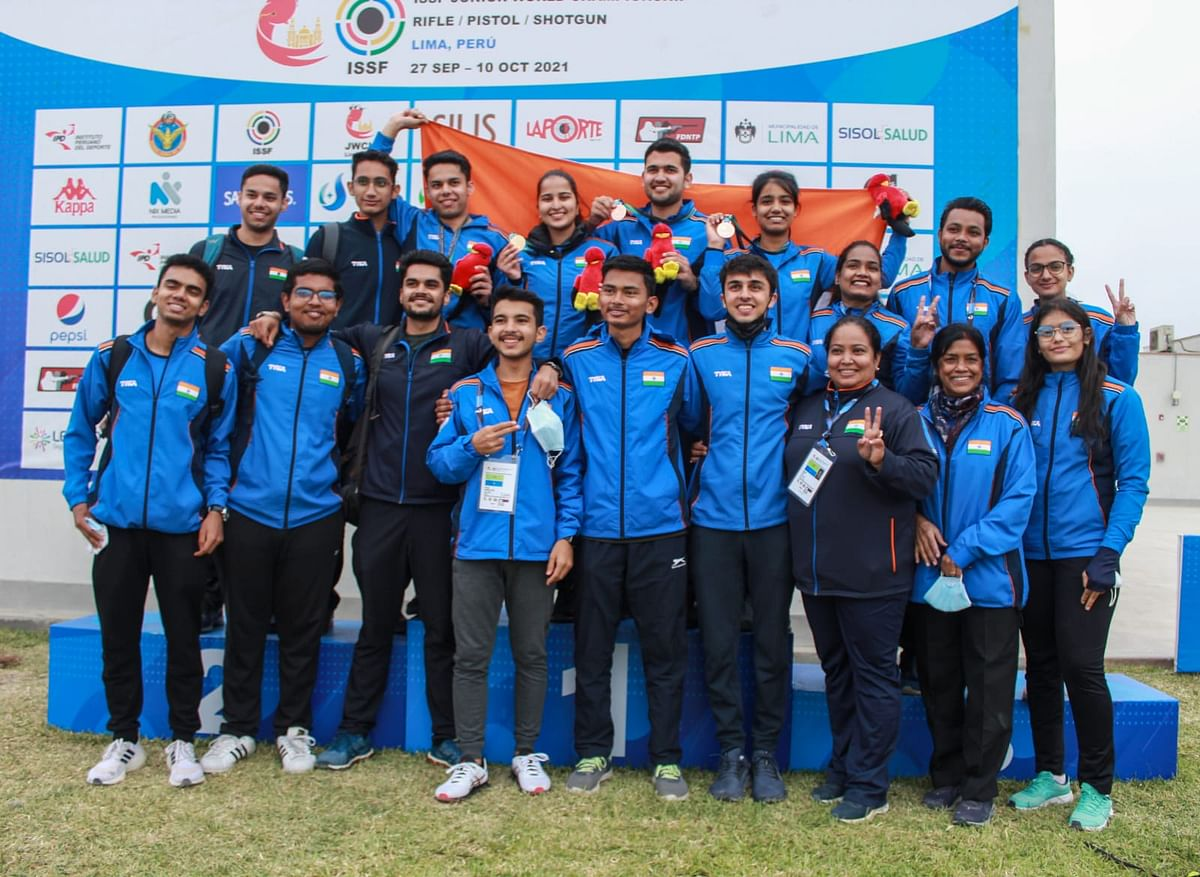 """<div class=""""paragraphs""""><p>Some members of India's contingent at the Junior Shooting World Championship</p></div>"""