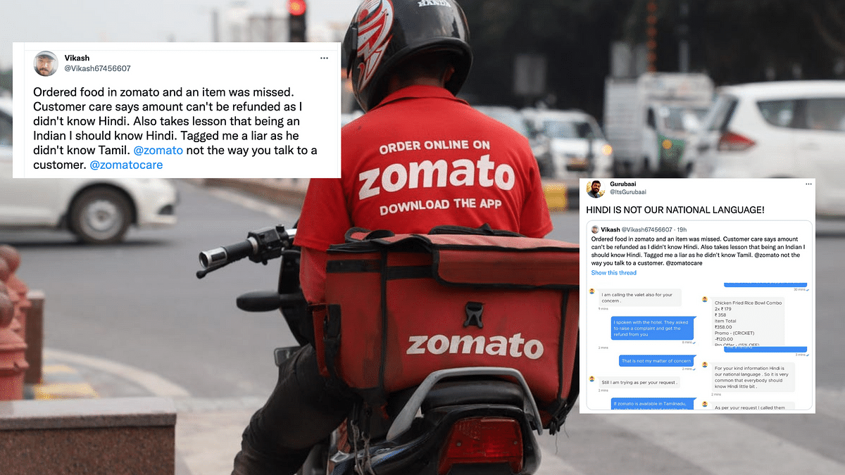 """<div class=""""paragraphs""""><p>Zomato faces flak after customer service agent says Hindi is our national language.</p></div>"""