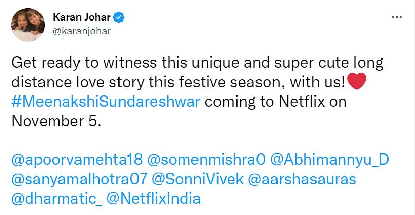 Sanya Malhotra, Abhimanyu Dassani's Meenakshi Sundareshwar Gets Release Date