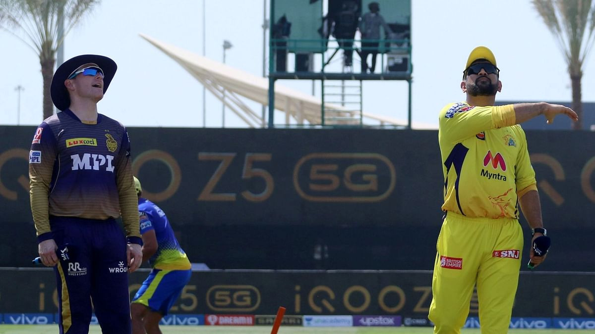 """<div class=""""paragraphs""""><p>MS Dhoni and Eoin Morgan at the toss in IPL 2021 in Abu Dhabi&nbsp;</p></div>"""