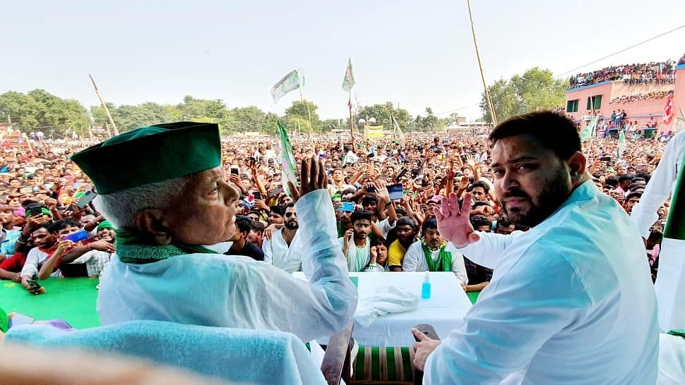 """<div class=""""paragraphs""""><p>Ahead of Bihar's by-elections later this week, Rashtriya Janata Dal (RJD) President Lalu Prasad Yadav addressed a public meeting in Tarapur as part of an electoral campaign, after six years, on Wednesday, 27 October.</p></div>"""