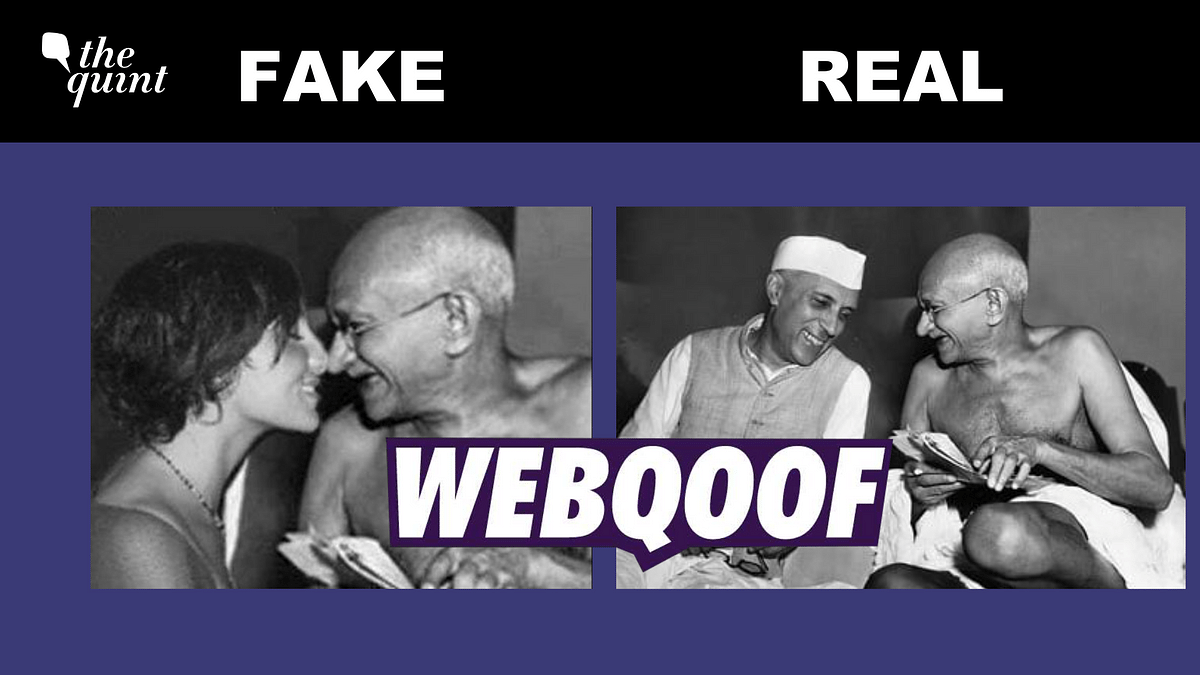 """<div class=""""paragraphs""""><p>The viral image uses a 1946 photo of Mahatma Gandhi and former PM Jawaharlal Nehru.</p></div>"""