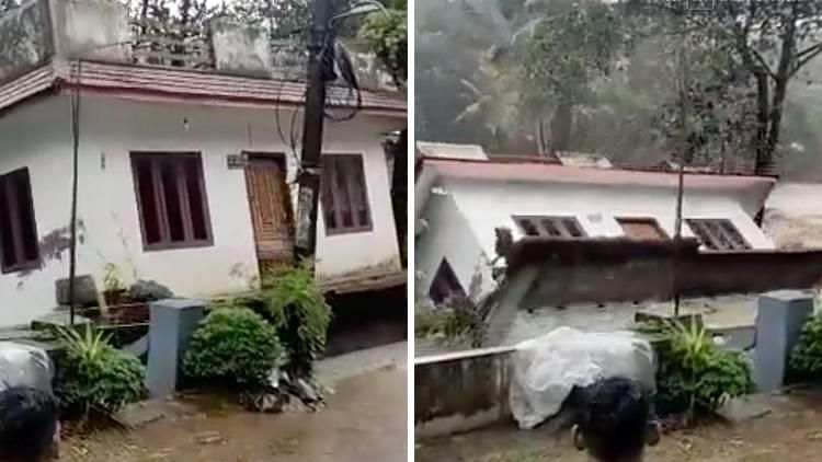 """<div class=""""paragraphs""""><p>A two-storey house in Kerala  tilted and collapsed into the gushing river.</p></div>"""