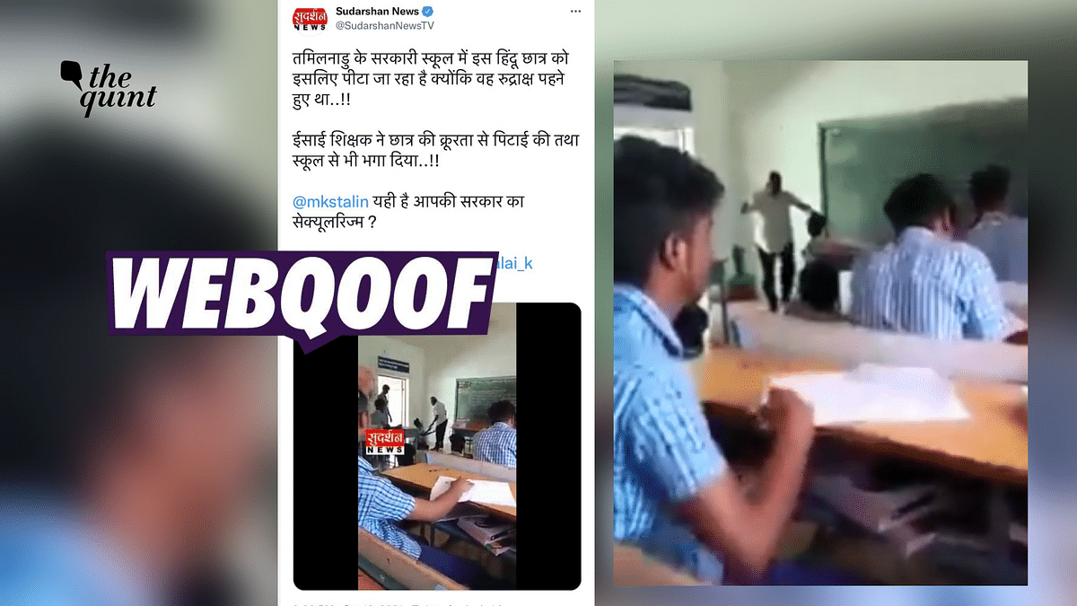 """<div class=""""paragraphs""""><p>The clip was shared to claim that it showed a Christian teacher caning a Hindu boy in Tamil Nadu.</p></div>"""