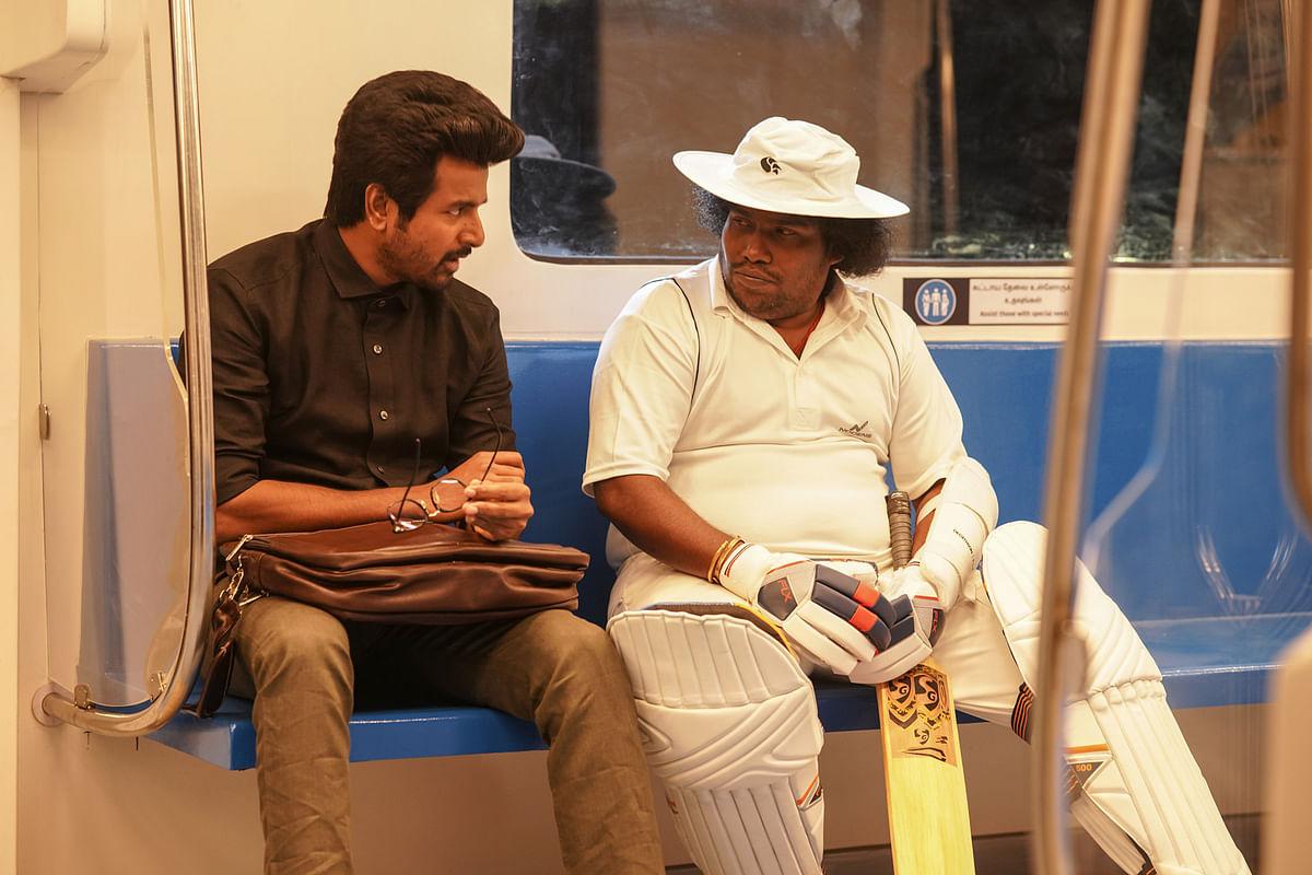 """<div class=""""paragraphs""""><p>Sivakarthikeyan with&nbsp;<em>Ayalaan&nbsp;</em>actor Yogi Babu.</p></div>"""