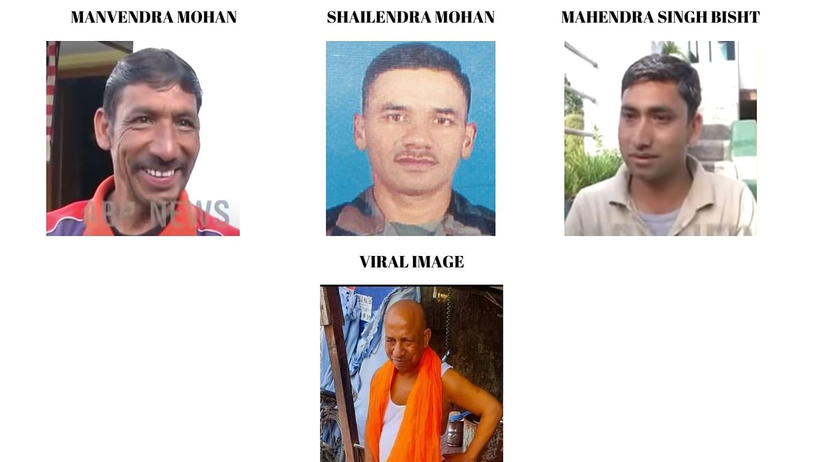 """<div class=""""paragraphs""""><p>From left to right: Viral image, Manvendra Mohan, Shailendra Mohan and Mahendra Singh Bisht.</p></div>"""