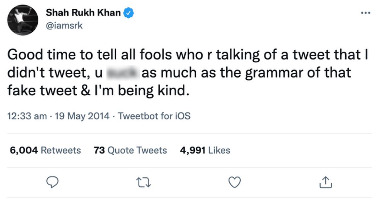 "<div class=""paragraphs""><p>Shah Rukh Khan had called out the viral claim in 2014.</p></div>"