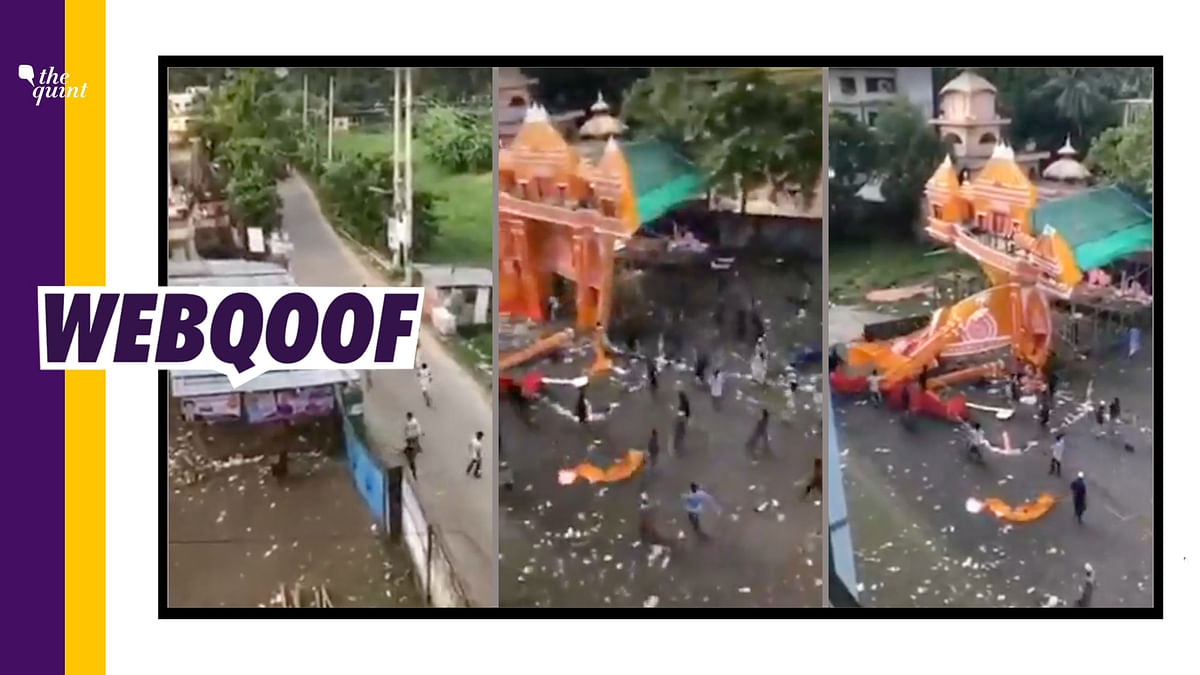 """<div class=""""paragraphs""""><p>The video claims that Muslims had vandalised a Durga Puja pandal in West Bengal.&nbsp;</p></div>"""