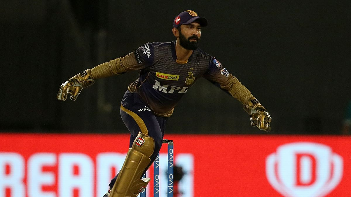 """<div class=""""paragraphs""""><p>Dinesh Karthik was reprimanded for a breach conduct in Qualifier 2 against DC in IPL 2021</p></div>"""