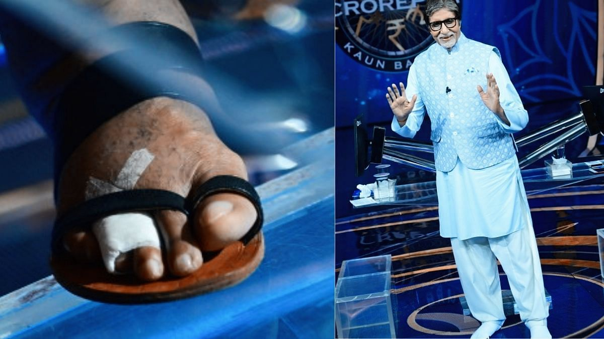 """<div class=""""paragraphs""""><p>Amitabh Bachchan appeared on <em>KBC 13</em> with his socks-like shoes, shared pictures.&nbsp;</p></div>"""