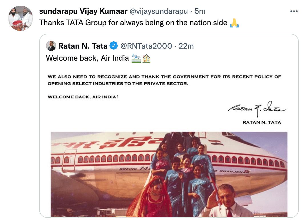 Ghar Wapsi: Twitter Celebrates as Tata Sons Acquires Air India