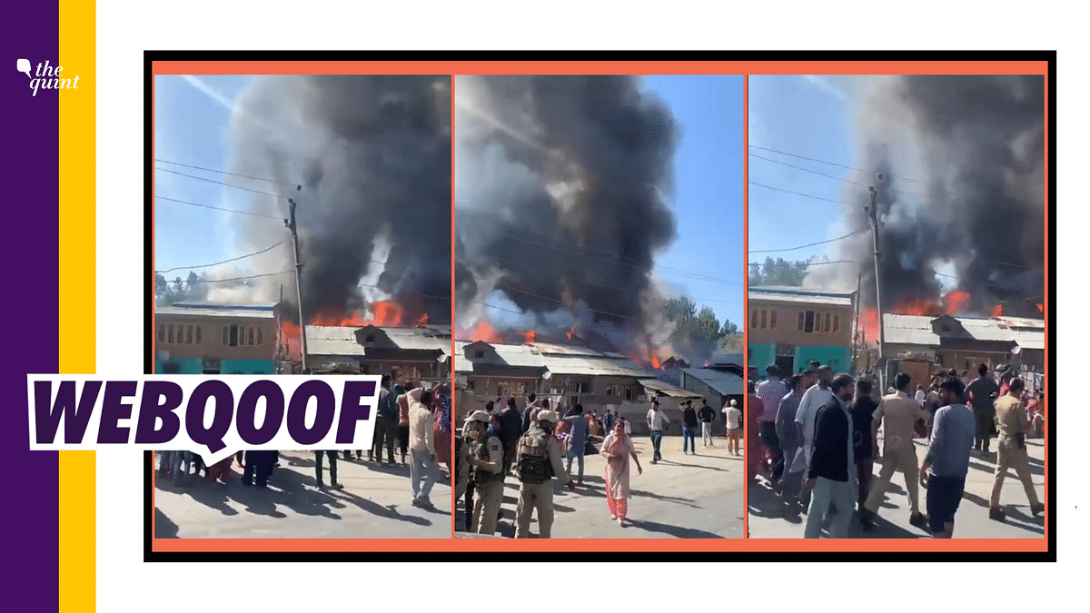 Video of a Fire in Srinagar Shared as Temple Burnt Down in Shopian