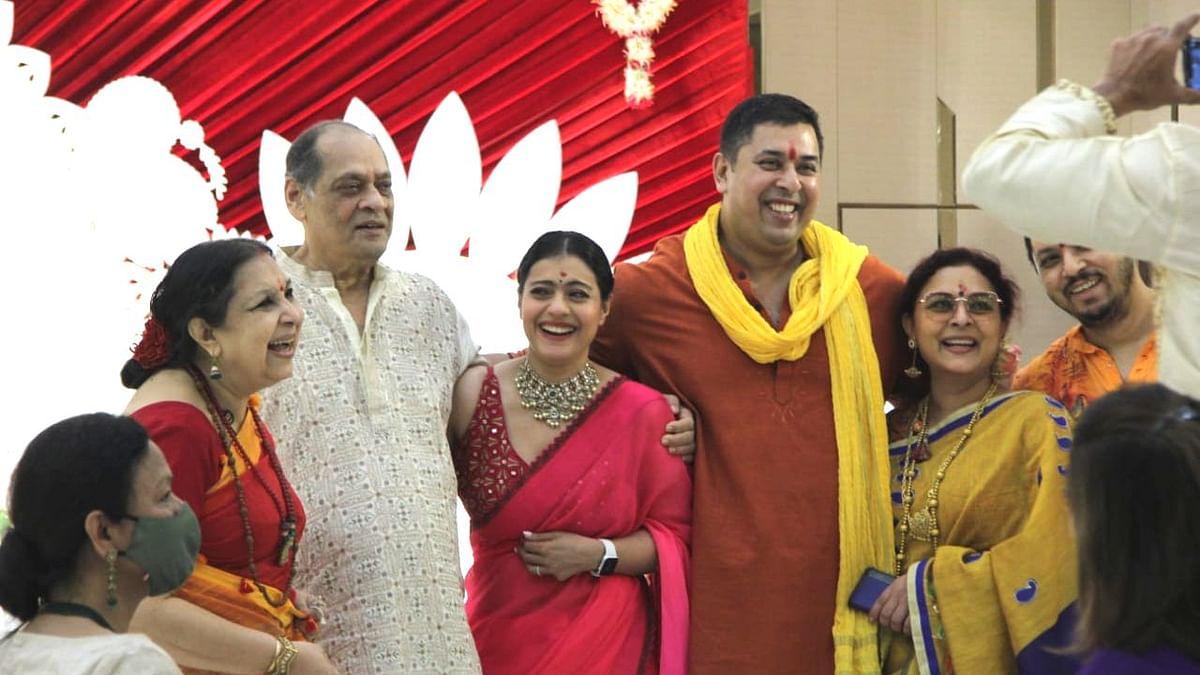 Pics: Kajol Attends Durga Puja with Cousin Sharbani Mukherjee, Family