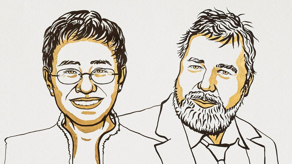 "<div class=""paragraphs""><p>Maria Ressa and Dmitry Muratov win the Nobel Peace Prize 2021.</p></div>"
